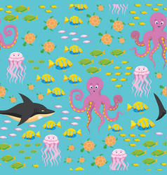underwater sea life seamless pattern vector image