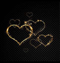 valentine heart sparkle golden frame isolated on vector image
