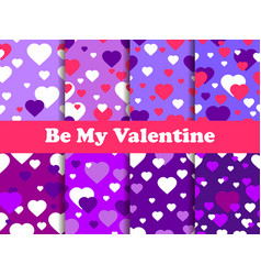 valentines day 14 february seamless pattern set vector image