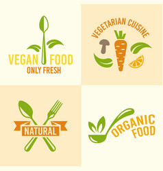 Vegetarian food or restaurant menu design elements vector