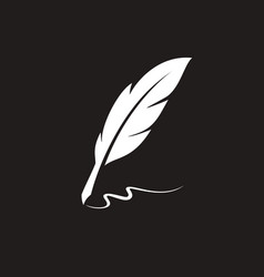 Vintage feather quill pen logo with ink stroke vector