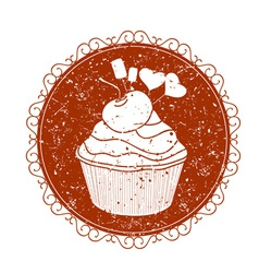 Vintage sign with cupcake vector
