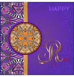 violet greeting card for indian festive sisters vector image