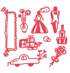 Wedding icons funny doodle vector image