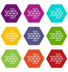 white triangle arrow icons set 9 vector image