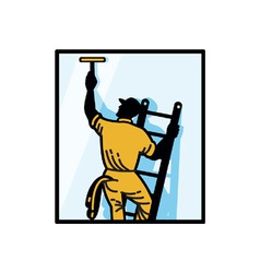 Window Cleaner Worker vector image