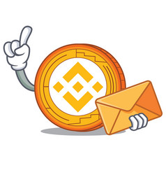 With envelope binance coin character catoon vector