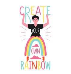 With woman and funny rainbow pants create your vector