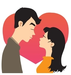 Young couple on the background with red heart vector image