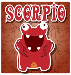 Zodiac sign Scorpio with cute colorful monster vector