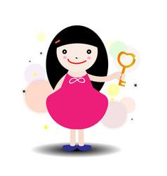 girl holding golden key vector image