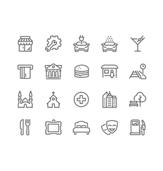 Line Points of Interest Icons vector image vector image