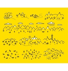 Map mountains Set graphic elements yellow black vector image vector image