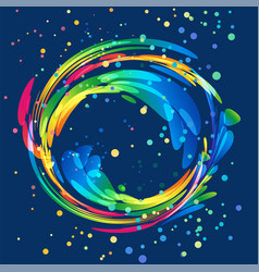 multicolored round abstract element on dark vector image