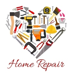 Work tools poster in heart symbol vector image vector image