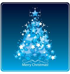 Christmas tree greetings card vector image vector image