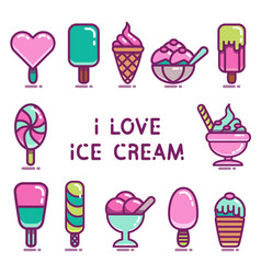 ice cream icons set vector image