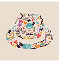 Vintage hipsters icons hat vector image vector image