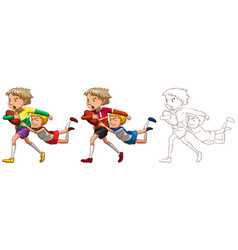 doodle character for people playing rugby vector image vector image