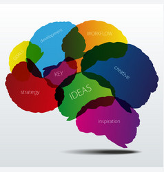 Human brain silhouette with business words vector image vector image
