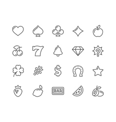 Line Slot Machine Icons vector image