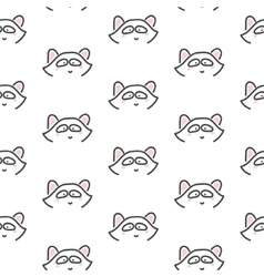 Racoon stylized line fun seamless pattern for kids vector image vector image