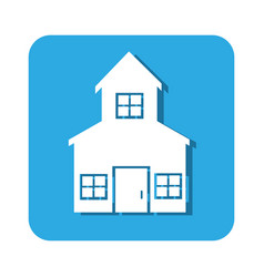 square button two floors house icon design vector image