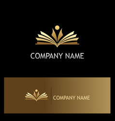 student open book education gold logo vector image vector image