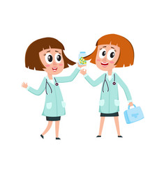 Two comic woman doctor characters holding medical vector