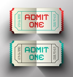 Admit One Paper Cut Tickets Set vector image