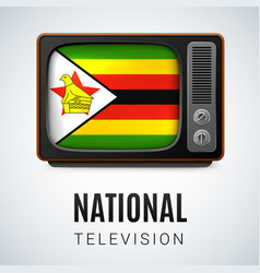 round glossy icon of zimbabwe vector image