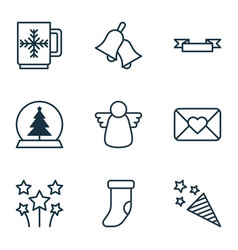 set of 9 new year icons includes ringer magic vector image