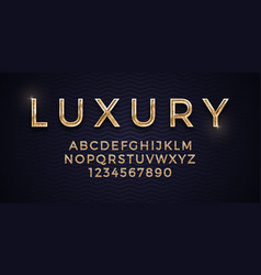 3d elegant luxury golden font on deep blue vector image