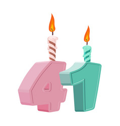 41 years birthday number with festive candle for vector image