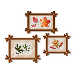 a set of wall-mounted compositions with autumn vector image