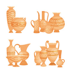 ancient vases bowls and goblets isolated vector image