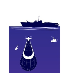 anti-submarine ship vector image