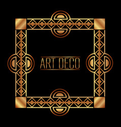 art deco frame border ornate gold decoration vector image