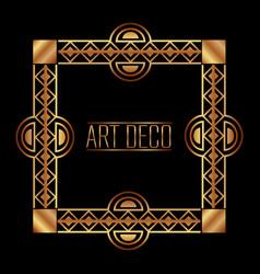 art deco frame border ornate gold decoration vector image