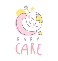 Baby care logo emblem with sleeping baby label vector