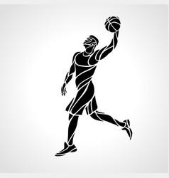 Basketball player slam dunk black creative vector