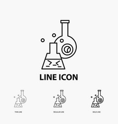 beaker lab test tube scientific icon in thin vector image