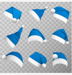 blue christmas hats realistic vector image