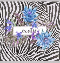 Blue vintage floral tropical greeting card vector