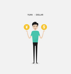 Businessman with us dollar and yuan sign vector