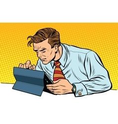 Businessman working on tablet vector