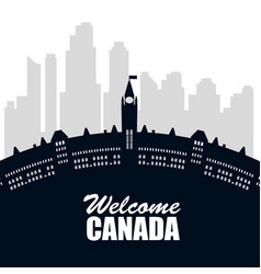 Canadian cityscape scene icon vector