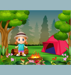cartoon a little girl camping in a forest vector image