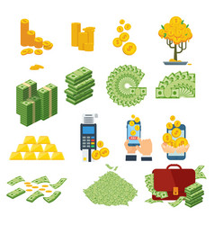 cash paper money set vector image