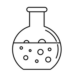 chemical round flask icon outline style vector image